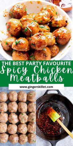 Spicy Chicken Meatballs aka Firecracker meatballs recipe with step-by-step instructions. These spicy and sweet twice-baked chicken meatballs are super easy to make and tastes delicious as an appetizer or in a meal! Baked Chicken Meatballs, Chicken Meatball Recipes, Lunch Recipes, Appetizer Recipes, Appetizers, Firecracker Meatballs, High Protein Recipes, Healthy Recipes, One Pot Meals