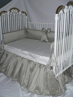 Platinum Performance Silk Baby Crib Bedding Set for Boys or Girls with optional Rhinestone bow detail