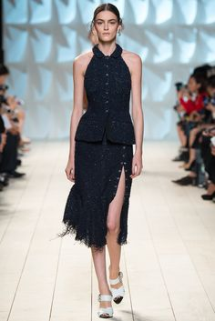 Nina Ricci | Spring 2015 Ready-to-Wear | 24 Navy embellished halter top and midi skirt with side slit