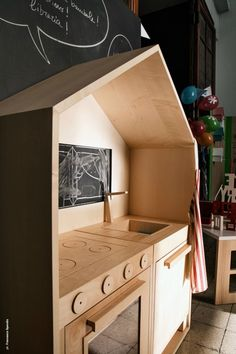 With play house, play kitchen, Play room Wooden Play Kitchen, Toy Kitchen, Plywood Kitchen, Kitchen For Kids, Kitchen Cabinets, Diy Inspiration, Wood Toys, Kids Furniture, Bedroom Furniture