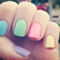 Pastel nails for summer. Think I'd have all the colours the same except if do pink on the middle, gold glitter on finger green on the little finger. Pastel Nail Polish, Nails Polish, Nail Polish Colors, Shellac Colors, Manicure Colors, Cute Nails, Pretty Nails, Hair And Nails, My Nails