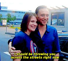 """Hi Miss Captain America."" ""Tom... your Loki is showing."" gif Tumblr"