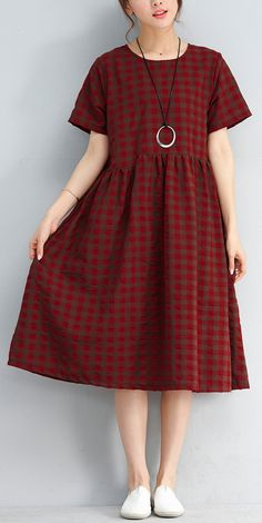 vintage red plaid natural linen dress Loose fitting linen cotton dress Elegant short sleeve knee dressesMost of our dresses are made of cotton linen fabric, soft and breathy. loose dresses to make you comfortable all the time. Dresses Elegant, Vintage Style Dresses, Simple Dresses, Casual Dresses, Fashion Dresses, Summer Dresses, Loose Dresses, Linen Dresses, Cotton Dresses