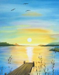 Easy Landscape Paintings, Simple Acrylic Paintings, Easy Paintings, Watercolor Landscape, Watercolor Paintings, Sunrise Painting, Lake Painting, Summer Painting, Moon Painting
