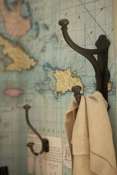 repurposed vintage map as wallpaper