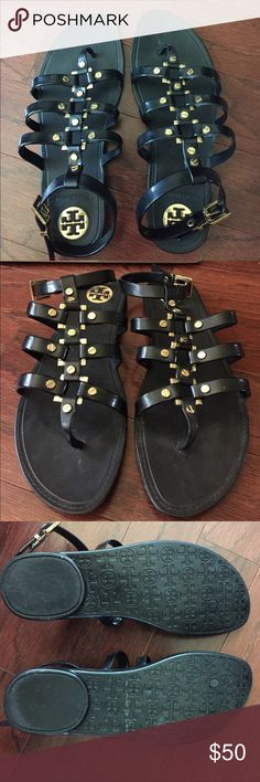 Tori Burch Gladiator Sandals Black gladiator sandals with gold Tory Burch Shoes Sandals
