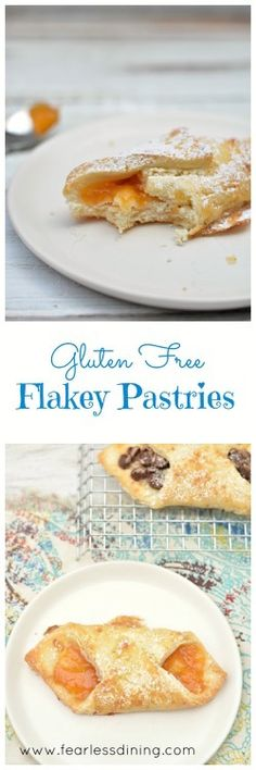 These gluten free flaky pastries are a delicious pastry that you can fill with jam, chocolate, or fruit. How to make gluten free pastry dough. Easy gluten free French pastries. Recipe at http://www.fearlessdining.com