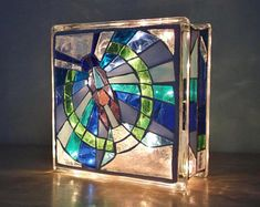 Stained Glass Mosaic Butterfly LIght Abstract
