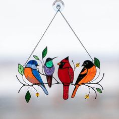 🔥Limited Stock At This Price🔥 This stained glass bird suncatcher is so vibrant and eye-catching😍 Hummingbird, cardinal, bluebird and Baltimore oriole are very attractive and cute birds. Having a lot of significant symbolistic meaning, this suncatcher will magically change your home to the happiest place of living full of joy and happiness ❤️ I'm sure that everyone will be thrilled by such a gift 🎁 NOTE: each suncatcher is unique and made by hands, that's why small deviation from the photos i Stained Glass Birds, Stained Glass Windows, Stained Glass Window Hangings, Stained Glass Cardinal, Stained Glass Suncatchers, Vitrail Cardinal, Sun Catchers, Spectrum Glass, Spring Birds