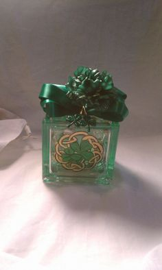 St Patricks Day Lighted glass block Irish Celtic Design