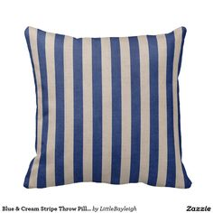 Blue & Cream Stripe Throw Pillow