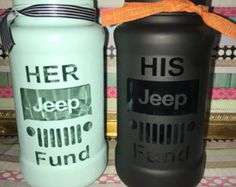 His and her jeep fund jars - Jeep - Super Car Pictures Jeep Wrangler Camping, Jeep Wrangler Lifted, Jeep Wj, Jeep Wrangler Unlimited, Lifted Jeeps, Jeep Wranglers, My Dream Car, Dream Cars, His And Hers Cars