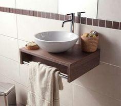 Bathroom Sink Design, Small Bathroom Sinks, Tiny Bathrooms, Yellow Bathrooms, Bathroom Storage, Bathroom Colors, Bathroom Vanities, Bathroom Styling, Bathroom Ideas