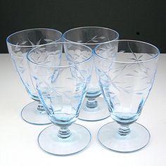 Ice Blue Glass Cordial Goblets Cut Design by AtticDustAntiques