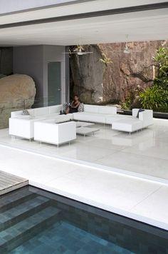 White outdoor lounge area, Lazy modular sofa by Kris Van Puyvelde for Royal Botania _