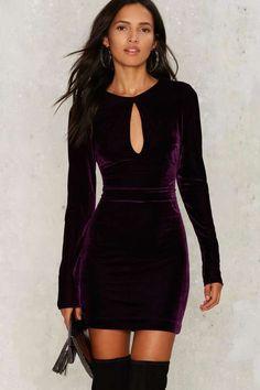 Nasty Gal Key the Change Velvet Dress - Dresses: Long Sleeve