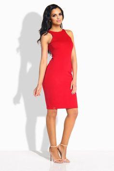 9951e39ea5c Sexy femme robe rouge moulante sans manches raz du cou coton LEMONIADE L185