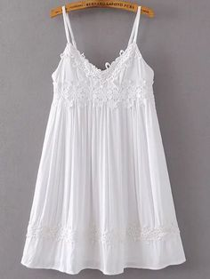 To find out about the Contrast Lace Applique Cami Dress at SHEIN, part of our latest Dresses ready to shop online today! Lace French Knickers, White A Line Dress, Plus Size Intimates, Short Dresses, Summer Dresses, Slip Dresses, Sleeveless Dresses, Summer Outfits, Lingerie Outfits