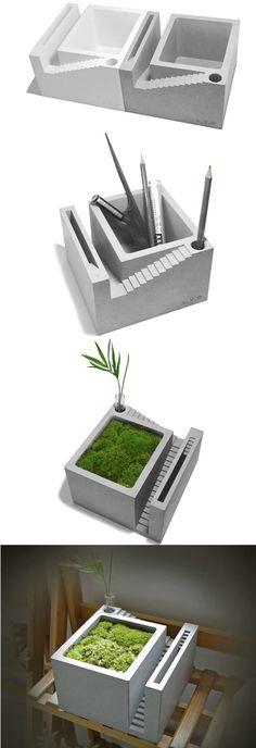 Handmade Concrete Architectural Style Succulent Planter / Plant Pot / Flower Pot / Bonsai Pot With Pen Stand Succulent Planter Diy, Flower Planters, Succulents Diy, Flower Pots, Concrete Molds, Concrete Crafts, Concrete Projects, Cement Art, Concrete Art