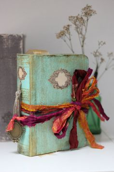 Boho beach wedding guest book OR photo album tied with