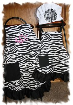 Mommy and Me Monogrammed Zebra Aprons AND Chef by MakeItWonderful