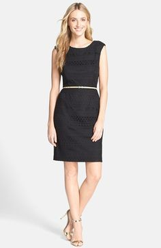 Ellen Tracy Belted Crochet Sheath Dress available at #Nordstrom