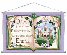 Once Upon A Time Storybook Wall Hanging in Lovely Lavender