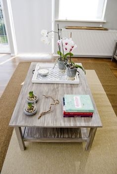DIY driftwood table from IKEA coffee table