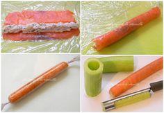 La soupe à la citrouille: Sucettes de concombre au saumon fumé et Fourme D'Ambert