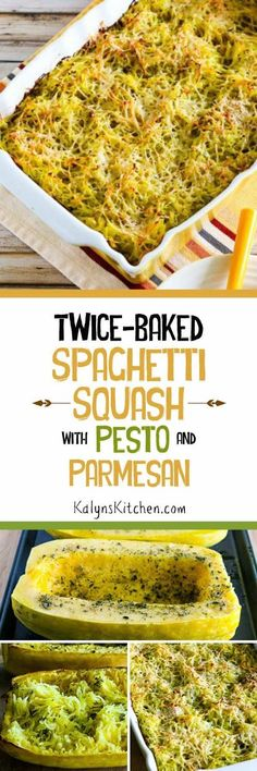 Twice-Baked Spaghetti Squash Recipe with Pesto and Parmesan could make a perfect side dish for people who are watching carbs. And this spaghetti squash dish is low-carb, Keto, low-glycemic, gluten-free, South Beach Diet friendly, and meatless, and it's amazing!  [found on KalynsKitchen.com] #SpaghettiSquash #LowCarb #Keto #LowGlycemic #GlutenFree #SouthBeachDiet
