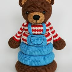 Crochet bear stacking toy pattern, $