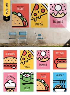 Street Fast Food Pack I'm glad to present you Street Fast Food Pack. Modern collection of different line style elements (icons, labels, logotypes), graphic Flugblatt Design, Food Graphic Design, Food Poster Design, Menu Design, Graphic Design Posters, Label Design, Food Design, Graphic Design Illustration, Graphic Design Inspiration