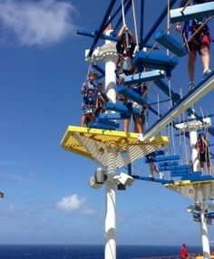 Kids Fun Aboard The Carnival Breeze. Sky Course ropes course. Carnival breeze reviews. #sponsored