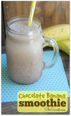 This Chocolate Banana Smoothie recipe is SUPER easy and delicious! My kids love it for a snack after school and I love that it's a healthy treat!