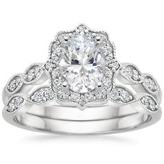 18K White Gold Cadenza Halo Diamond Matched Set (1/3 ct. tw.) from Brilliant Earth