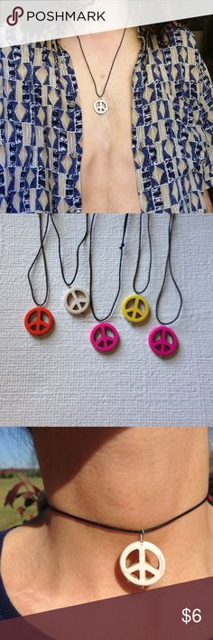 handmade peace sign necklace Clay peace sign necklace, handmade. On an adjustable waxed cotton cord. handmade Jewelry Necklaces
