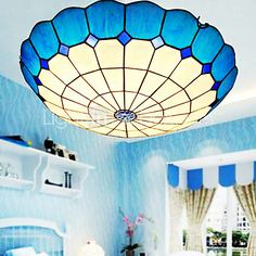 E27 220V 30*9CM 3-5㎡European Rural Creative Arts Stained Glass  Absorb Dome Lamp Led Light - USD $49.99