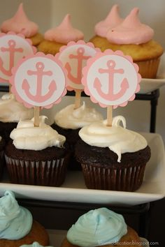 Anchor Cupcake Toppers Girl Birthday Baby by CreativePartyBanners, $5.50