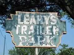 Leahy's Trailer Park sign