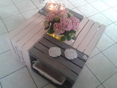 Table basse réalisée par Sophie D. Avec des caisses de pommes - Déco - DIY