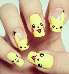 The popularity of emoji is growing day by day. From t-shirts to home décor these emoji are used everywhere. So why not in nails. Yes now you can paint your nails with emoji nail art. Pikachu Nails, Emoji Nails, Anime Nails, Cute Nail Polish, Cute Nail Art, Cute Nails, Pretty Nails, Nail Art Designs, Nail Polish Designs