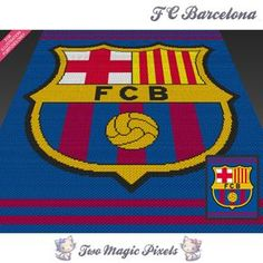 FC Barcelona crochet blanket pattern; knitting, cross stitch graph; pdf download; no written counts or row-by-row instructions by TwoMagicPixels, $5.69 USD