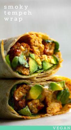 Smoky Tempeh + Avocado Wrap #vegan #recipe #temeph