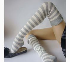 Risultati immagini per long socks stripes grey