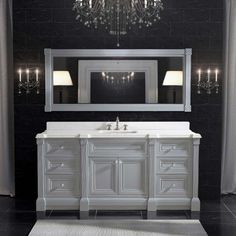 72 Inch Gray Finish Single Sink Bathroom Vanity Cabinet With Mirror