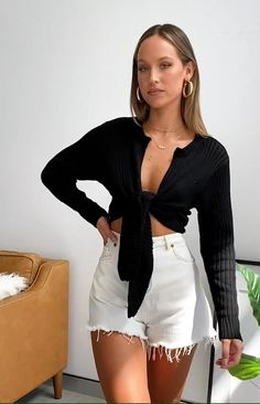 Comfortable and cute in the Bodhi Tie Up Knit Top Black! Wear it all weekend with denim shorts and slides. Short Outfits, Stylish Outfits, Cute Outfits, Tumblr Fashion, Girl Fashion, Fashion Outfits, Lace Crop Tops, Playsuit, Beautiful Outfits