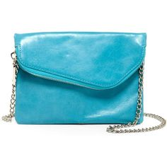 Hobo Daria Convertible Leather Crossbody Clutch ($50) ❤ liked on Polyvore featuring bags, handbags, clutches, turquoise, leather cross body purse, foldover clutches, leather cross body handbags, fold-over clutches and leather crossbody