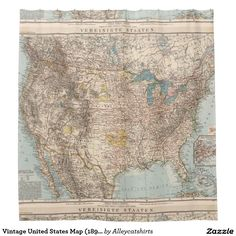 Vintage United States Map (1898) Shower Curtain