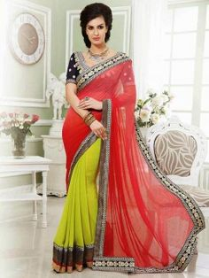 Red And Light Green Georgette Saree With Resham And Zari Embroidery Work