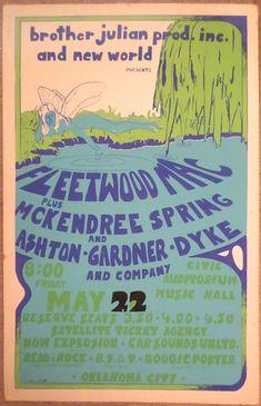 1970 Fleetwood Mac Oklahoma City Concert Poster